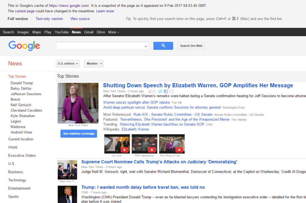 Google's Cached New Page